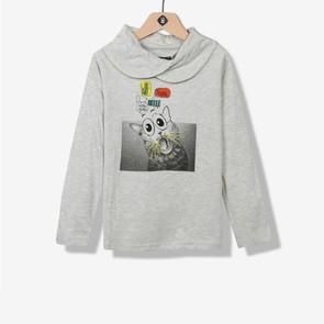 T-shirt garçon à capuche chiné