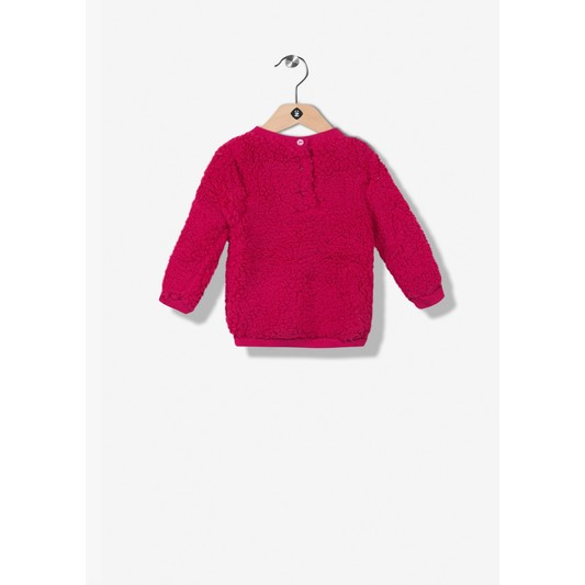 Pull tunique fille rose en fourrure