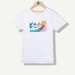 T-shirt garçon hologramme blanc