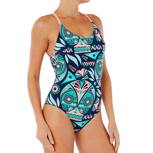395cbd6bac2e ... Riana Women s One-Piece Low Cut Swimsuit - Pop Blue
