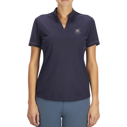 8417f1dd87f1 ... PL500 Mesh Women s Horse Riding Short-Sleeved Polo Shirt - Navy Blue  and Grey. Fouganza