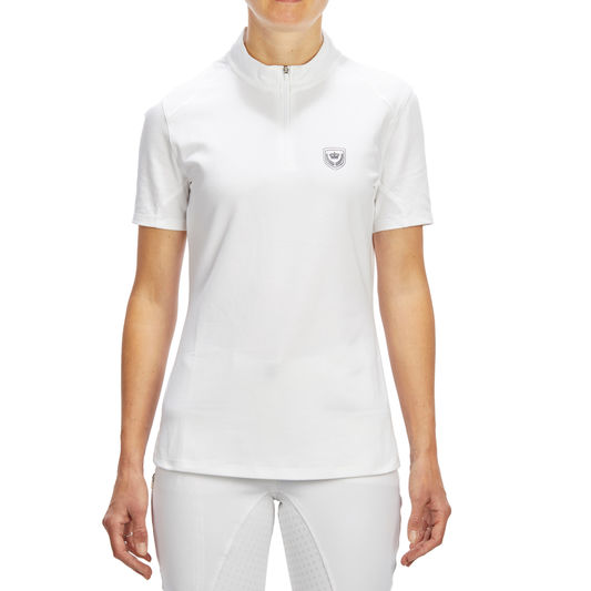 b27bd347064c ... COMP500 Women s Short-Sleeved Horse Riding Competition Polo - White.  Fouganza