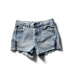 501 SHORT ALTERED ZIP MISTED INDIGO